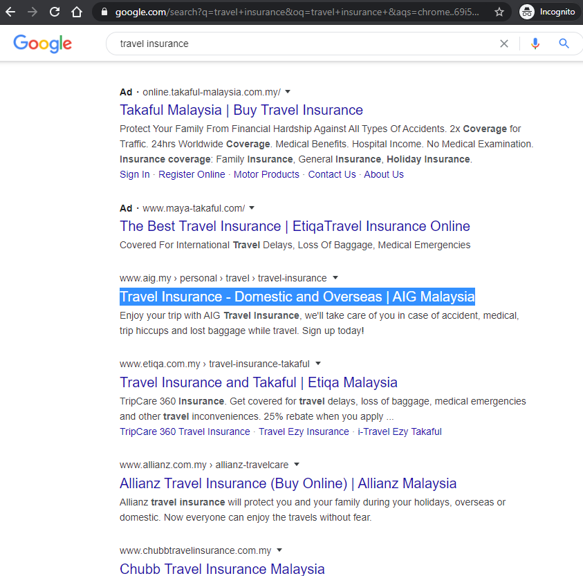 Ranked Number 1 for 'Travel Insurance' keyword search