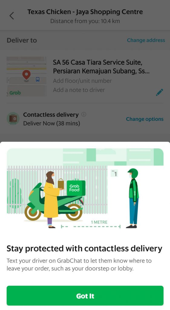 Grabfood's User Experience of Contactless Delivery