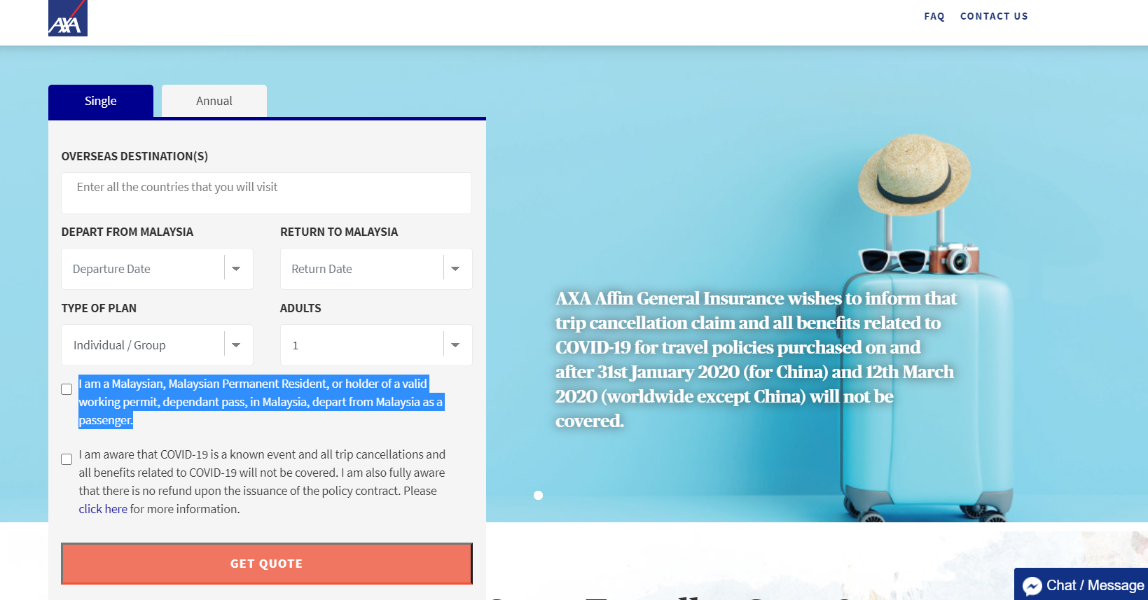 AXA Quote Page - Digital Travel Insurance