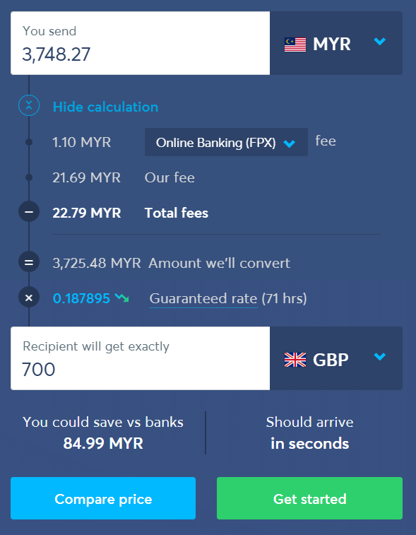 Transferwise - Money Transfer Calculation