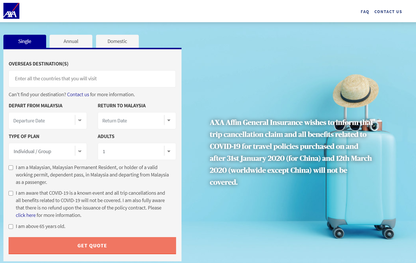 AXA Quote Page - Digital Travel Insurance for Covid-19