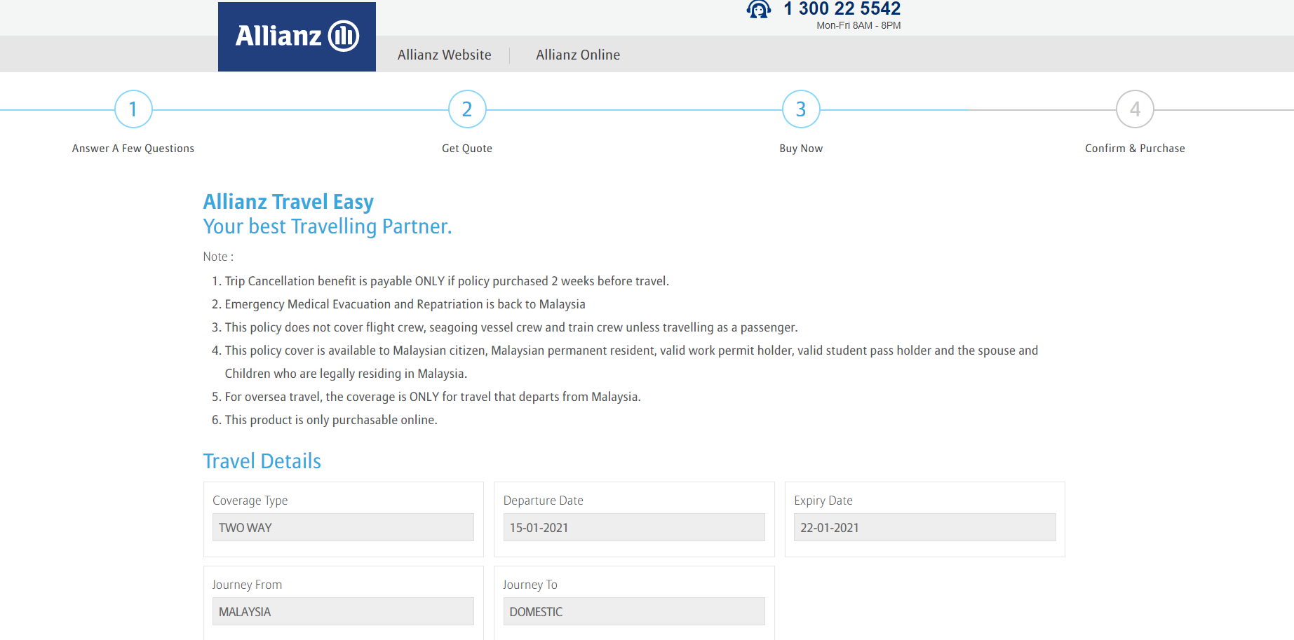 Allianz Payment Page - Digital Travel Insurance for Covid-19