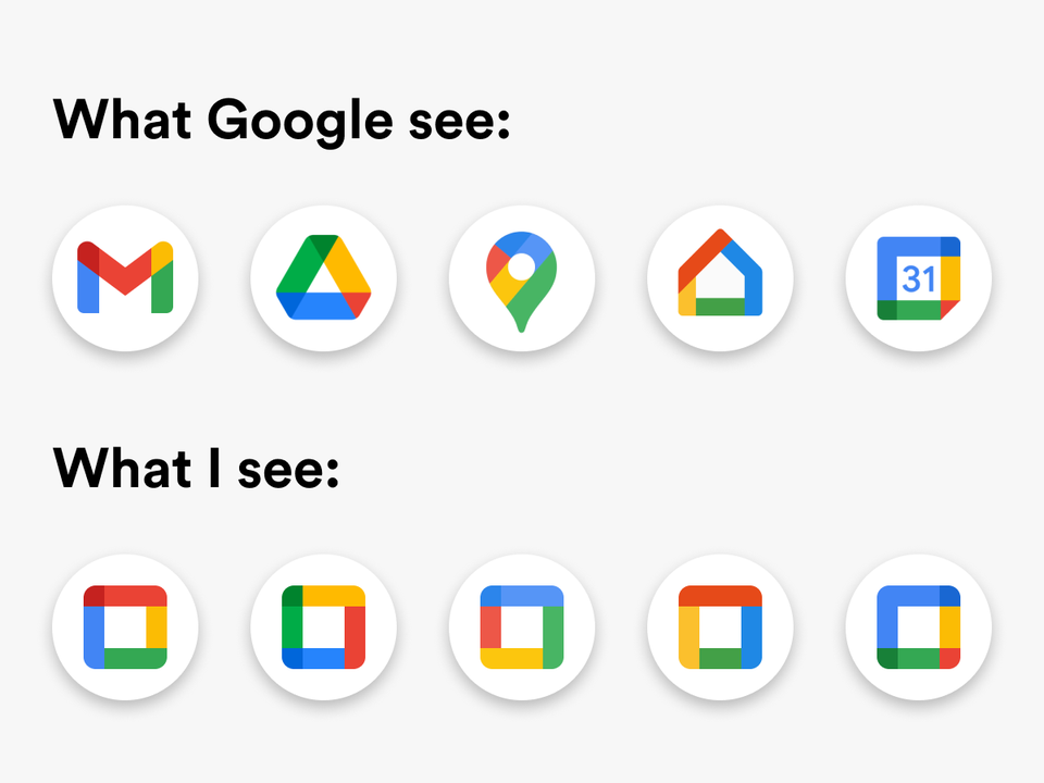 Low Usability - Google New App Icons