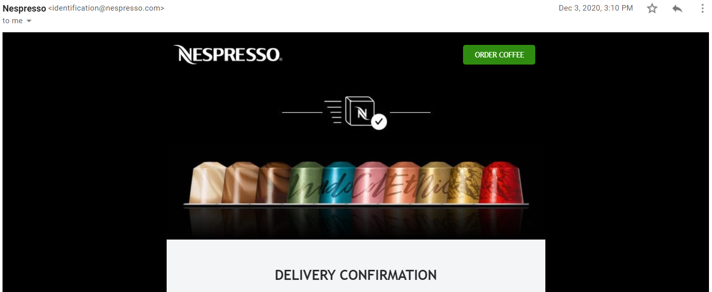 Consistent omnichannel user experience - Nespresso email confirmation