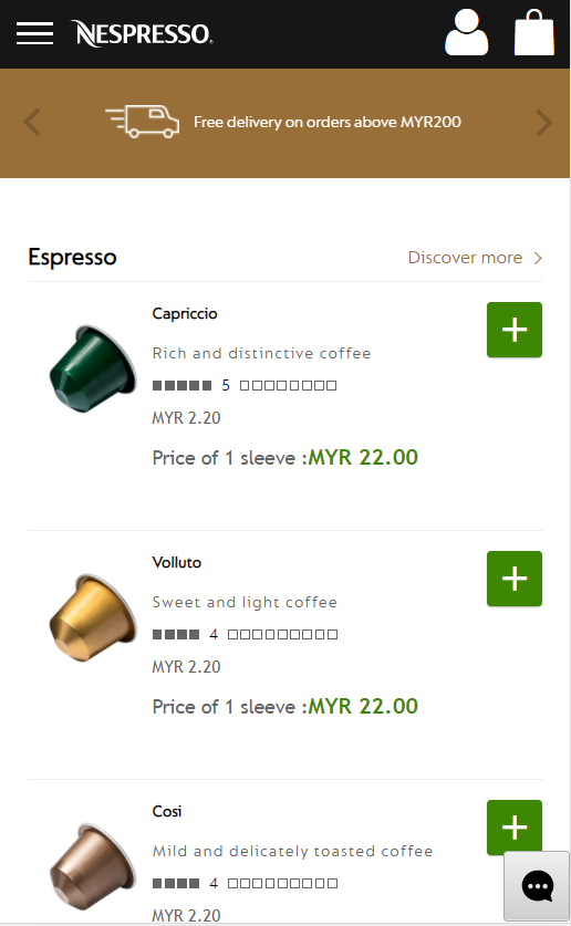 Consistent omnichannel user experience - Nespresso mobile