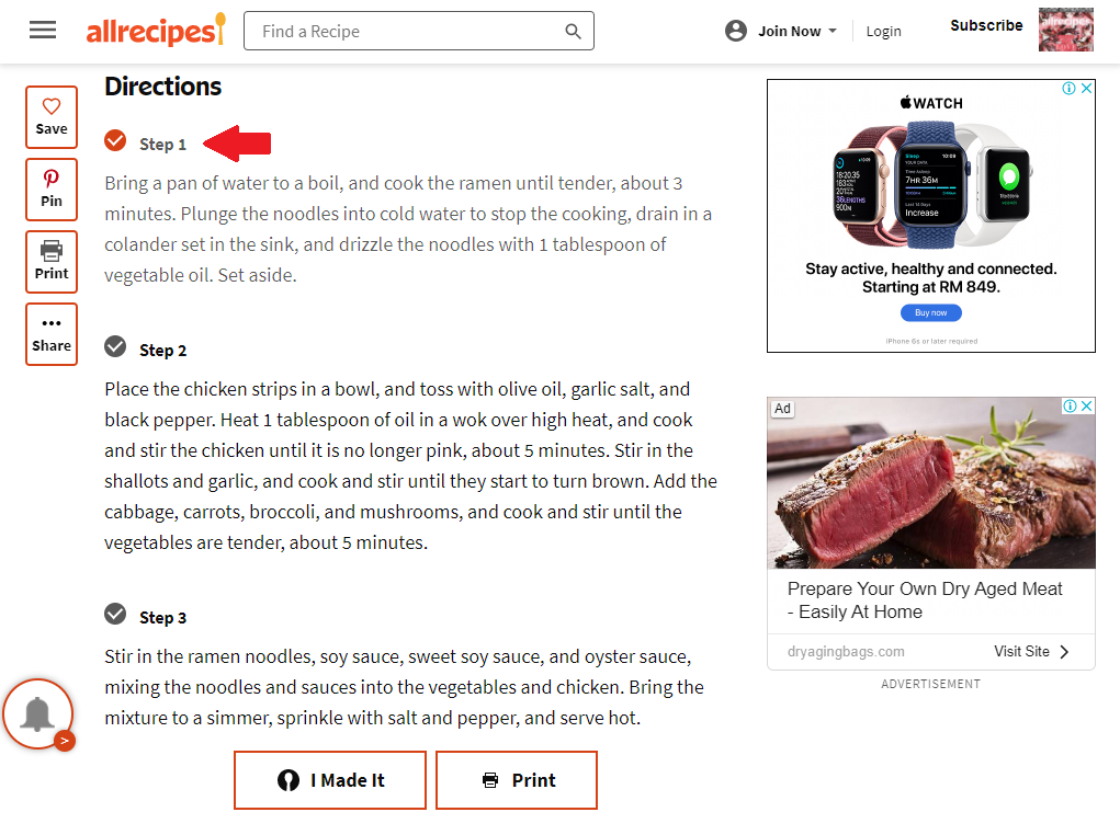 Optimized omnichannel user experience - Allrecipes Tablet